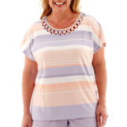 Alfred Dunner® Sunrise Point Short-Sleeve Lattice Striped Top - Plus