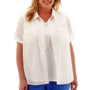 Alfred Dunner® Coastal Breeze Short-Sleeve Medallion Burnout Layered Top - Plus