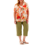 Alfred Dunner® Coastal Breeze Watercolor Beaded Top or Cargo Capris - Plus