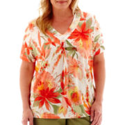 Alfred Dunner® Coastal Breeze Short-Sleeve Tropical Watercolor Beaded Top - Plus