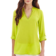 nicole by Nicole Miller® 3/4-Sleeve Roll-Tab Beaded V-Neck Tunic Top