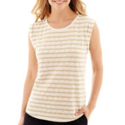 Liz Claiborne® Cuffed Textured Striped T-Shirt