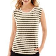 Liz Claiborne® Cuffed Textured Striped T-Shirt