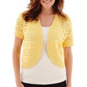 Liz Claiborne® Short-Sleeve Crochet Cardigan