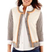 Stylus™ 3/4-Sleeve Colorblock Crewneck Cardigan Sweater