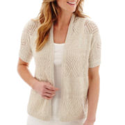 St. John's Bay® Short-Sleeve Crochet Shrug Sweater