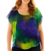 Unity® Short-Sleeve Chiffon-Overlay Top - Plus