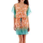 Bisou Bisou® Flutter-Sleeve Tie-Dyed Paisley Blouson Dress