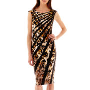 J. Taylor Sleeveless Animal Print Striped Sheath Dress