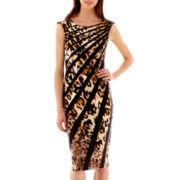 J. Taylor Sleeveless Animal Print Striped Sheath Dress