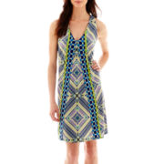 J. Taylor Sleeveless Print Back-Detail Shift Dress