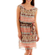 Robbie Bee® Aztec-Print Blouson Dress