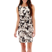 Alyx® Sleeveless Floral Print Belted Sheath Dress
