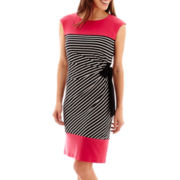 R&K Originals® Extended Cap-Sleeve Striped Side-Tie Dress