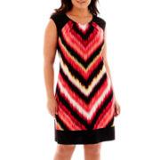 London Style Collection Cap-Sleeve Print Sheath Dress - Plus