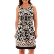 Perceptions Sleeveless Print Dress - Plus