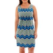 Perceptions Sleeveless Chevron Print Pleat-Front Dress - Plus