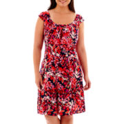 London Style Collection Sleeveless Print Fit-and-Flare Dress - Plus