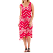 a.n.a® Sleeveless Chevron Print Sundress - Plus