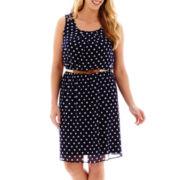 Alyx® Sleeveless Polka Dot Print Fit-and-Flare Dress - Plus