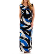 London Style Collection Sleeveless Brushstroke Print Maxi Dress - Plus