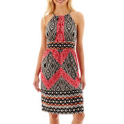 London Style Collection Keyhole Halter Fit-and-Flare Dress - Petite