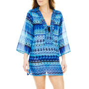 Raviya Long-Sleeve Print Tunic Cover-Up