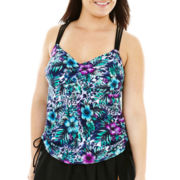 Robby Len by Longitude® Shirred Tankini Swim Top - Plus