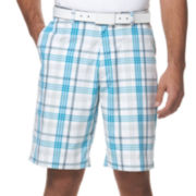 PGA TOUR® Flat-Front Plaid Shorts