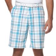 PGA TOUR® Flat-Front Plaid Shorts
