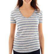 a.n.a® Short-Sleeve V-Neck Knit T-Shirt - Petite