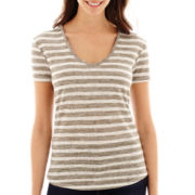 a.n.a® Short-Sleeve Striped Textured V-Neck T-Shirt- Petites