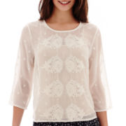 MNG by Mango® 3/4-Sleeve Embroidered Sheer Top