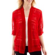 Worthington® 3/4 Tab-Sleeve Open-Front Cardigan Sweater - Tall