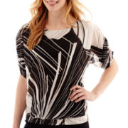 Worthington® 3/4 Dolman-Sleeve Banded Print Top - Tall