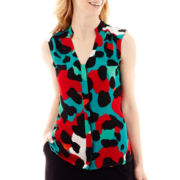 Worthington® Sleeveless High-Low Pleated Print Blouse - Tall