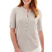 Liz Claiborne® Elbow-Sleeve Roll-Tab Henley Shirt