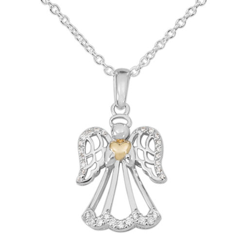 Hallmark Womens White Cubic Zirconia 14K Sterling Silver Pendant Necklace