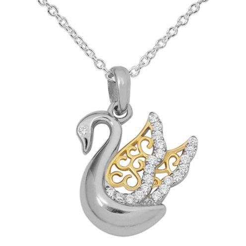 Hallmark Silver Womens White Cubic Zirconia Sterling Silver Pendant Necklace