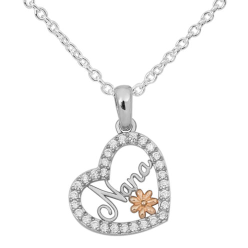 Hallmark Silver Womens White Cubic Zirconia Sterling Silver Pendant Necklace