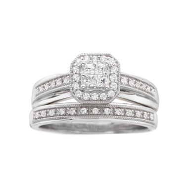 jcpenney.com | I Said Yes™ 3/8 CT. T.W. Certified Diamond Princess-Style Bridal Set