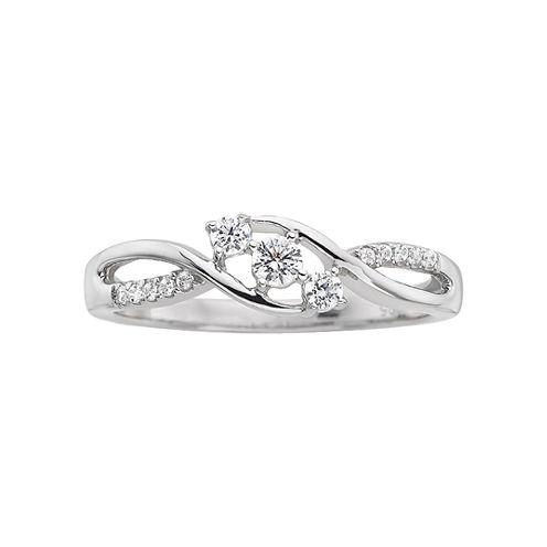 1/5 CT. T.W. Diamond Three-Stone Promise Ring