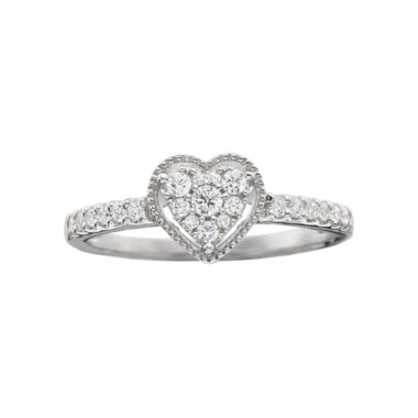 jcpenney.com | 1/4 CT. T.W. Diamond Heart-Shaped Promise Ring