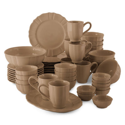 JCPenney Home™ Ashley Scalloped Stoneware 50-pc. Dinnerware Set - Service for 8  sc 1 st  JCPenney & JCPenney Home Stoneware 50 pc Dinnerware Set