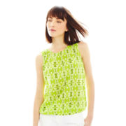 Joe Fresh™ Sleeveless Print Pleat-Neck Blouse
