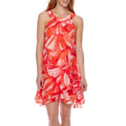 Studio 1® Sleeveless Halter Multi Tiered Abstract Shift Dress