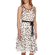 Robbie Bee® Sleeveless Dot Belted Corkscrew Fit-and-Flare Dress