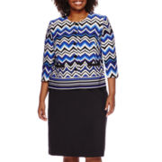 Isabella Long-Sleeve Chevron Skirt Suit Set - Plus