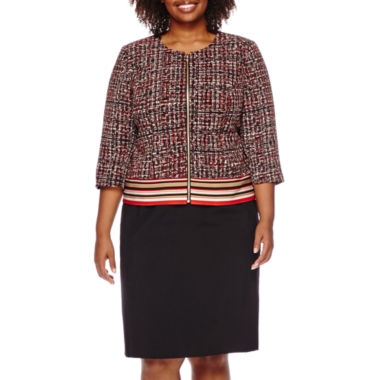 jcpenney.com | Isabella Long-Sleeve Printed Zip-Front Skirt Suit Set - Plus