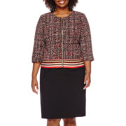 Isabella Long-Sleeve Printed Zip-Front Skirt Suit Set - Plus